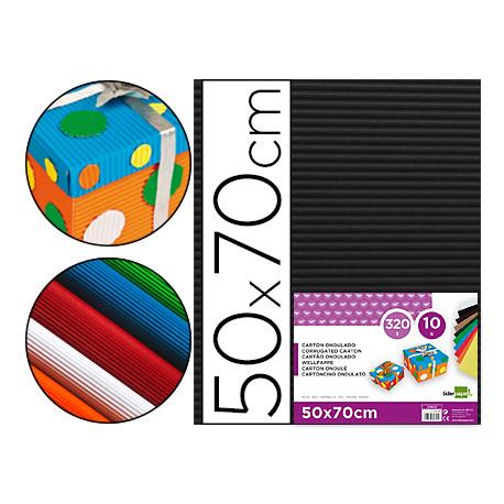 Carton ondulado liderpapel 50 x 70cm 320g/m2 negro