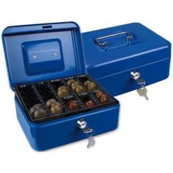 Caja caudales qconnect 8 200x160x90 mm azul con portamonedas