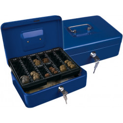 Caja caudales qconnect 10 250x180x90 mm azul con portamonedas