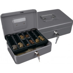 Caja caudales qconnect 10 250x180x90 mm plata con portamonedas