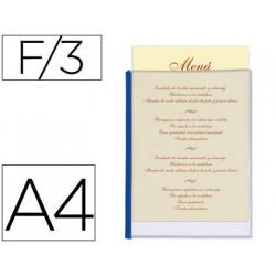 Porta menus liderpapel pvc din a4 con 3 fundas