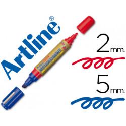Rotulador artline pizarra ek525tt doble punta punta biselada 5 mm azul pun