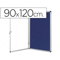 Vitrina de anuncios qconnect mural grande fieltro azul con puerta y marco