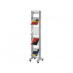 Expositor fastpaperflow de suelo movil din a4 aluminio4 estantes 1678x385x