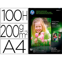 Papel hp photo semiglossy 200g/m2 din a4 100h