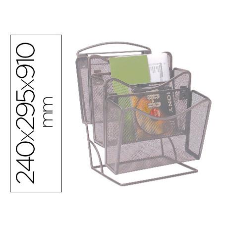 Revistero qconnect rejilla metalico plateado 3 compartimentos