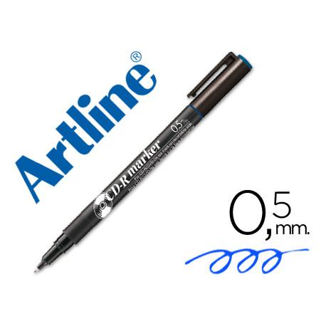 Rotulador artline para cd punta de fibra permanente ek883 azul 05 mm bli