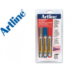 Rotulador artline pizarra ek517 punta redonda 2 mm blister 1 negro 1 roj