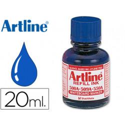 Tinta artline azul para rotulador pizarra blanca 500a frasco de 20 ml