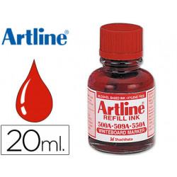 Tinta artline rojo para rotulador pizarra blanca 500a frasco de 20 ml