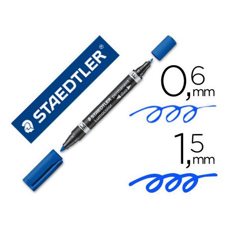 Rotulador staedtler lumocolor permanente duo 348 azul punta f 06 mm punta