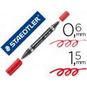 Rotulador staedtler lumocolor permanente duo 348 rojo punta f 06 mm punta