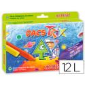 Lapices cera dacstrix triangul caja de 12 colores