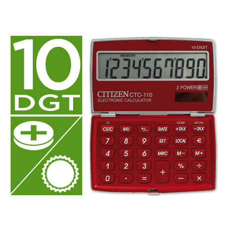 Calculadora citizen bolsillo ctc110 b 10 digitos burdeos burgundy 106x63x1