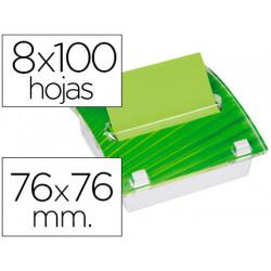 Soporte bloc de notas adhesivas postit millenium con 8 bloc verde