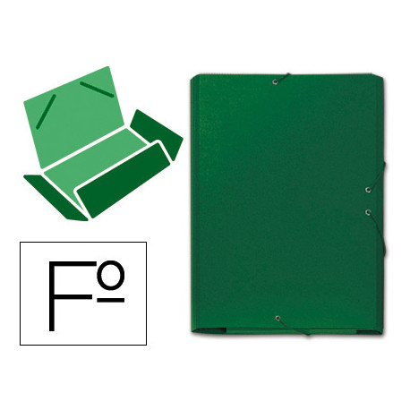 Carpeta goma carton gofrado solapa folio verde tres solapas