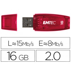 Memoria usb emtec flash c410 16 gb 20 rojo