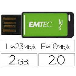 Memoria usb emtec flash 2gb 20 emdesk 23mb/s verde