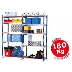 Estanteria fastpaperflow metalica azul 5 estantes gris 180kg por estante 9