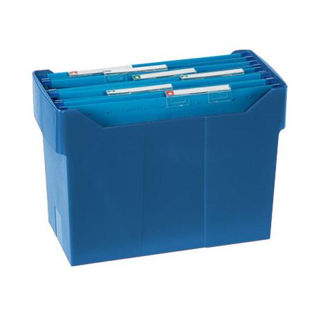 Soporte sobremesacarpetas colgantes azul de poliestireno para formato din a