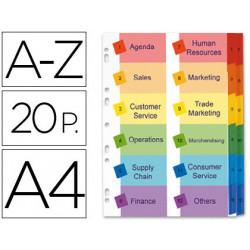 Separador alfabetico avery doble columna en cartulina juego de az pestañas