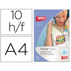 Papel transfer para camisetas blancas tamaño a4 presentada en carpeta de 1