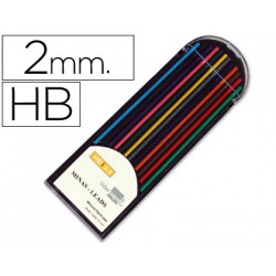 Minas liderpapel colores surtidos de 2 mm estuche de 12 minas