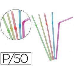 Pajita flexible de plástico paquete 50 unidades
