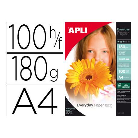 Papel fotografico apli glossy din a4 pack 100 hojas de 180 grs