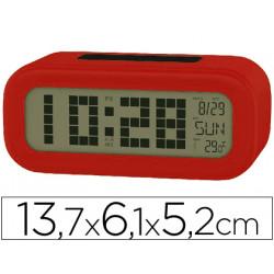 Reloj despertador con pantalla retroiluminada calendario y temperatura colo