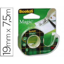 Cinta adhesiva scoth magic invisible clips strip 75x19mm en portarrollo