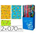 Papel fantasia infantil bob esponja rollo de 2x070 mt papel 60 grs
