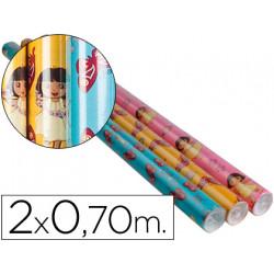Papel fantasia infantil dora rollo de 2x070 mt papel 60 grs