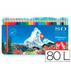Lapices de colores prismalo acuarelables caja metalica de 80 colores surtid