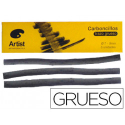 Carboncillo artist gruesos 79 mm caja de 3 barras