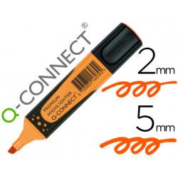 Rotulador qconnect fluorescente naranja premium punta biselada con sujecio