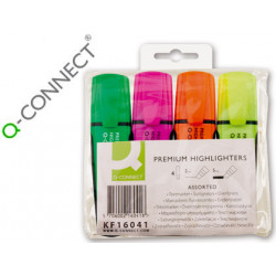 Rotulador qconnect fluorescente premium estuche de 4 colores surtidos punt