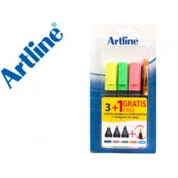Rotulador artline fluorescente ek660 blister de 3 unidades + 1 boligrafo s
