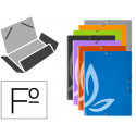 Carpeta liderpapel gomas folio 3 solapas carton forrado 7 colores surtidos