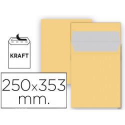 Sobre liderpapel bolsa n 11 kraft folio prolongado 250x353 mm tira de silic