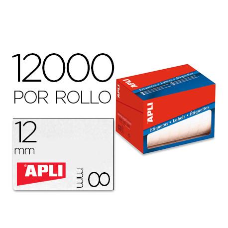 Etiqueta adhesiva apli 1676 tamaño 8x12 mm en rollo de 12000 unidades