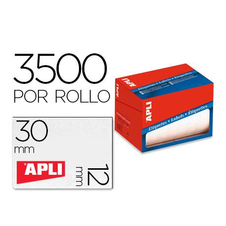 Etiqueta adhesiva apli 1680 tamaño 12x30 mm en rollo de 3500 unidades