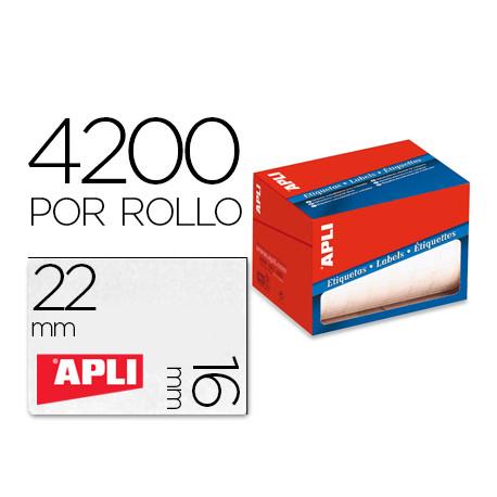 Etiqueta adhesiva apli 1683 tamaño 16x22 mm en rollo de 4200 unidades