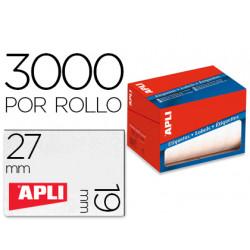Etiqueta adhesiva apli 1684 tamaño 19x27 mm en rollo de 3000 unidades