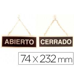 Letrero metalico serigrafiado abierto y cerrado con cadena y ventosa para c