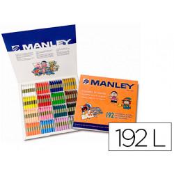 Lapices cera manley caja de 192 unidades 16 colores surtidos