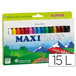 Lapices de cera alpino maxidacs caja de 15 colores surtidos