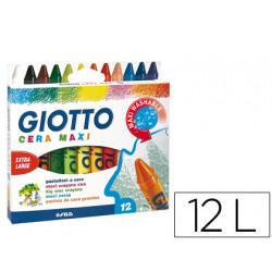 Lapices cera giotto maxi caja de 12 colores