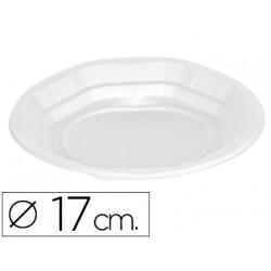 Plato de plastico blanco llano 17cm de diametro paquete de 50