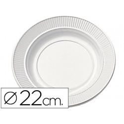 Plato de plastico blanco llano 22cm de diametro paquete de 100